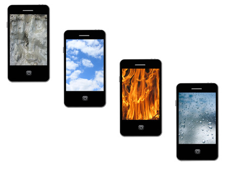 four modern mobile phones with different elements on the white photo