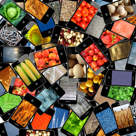gastronome: modern mobile phones with different colored images