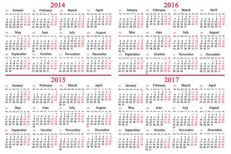 gebruikelijke kantoor kalender voor 2014 - 2017 jaar