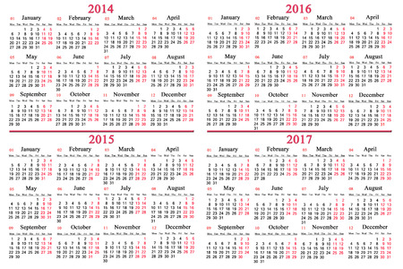 usual office calendar for 2014 - 2017 years