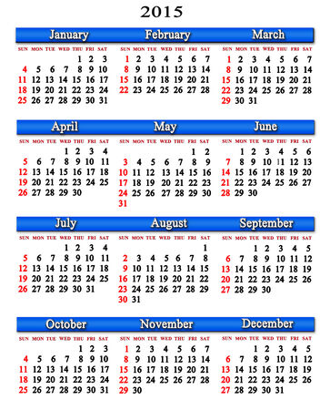 next year: office calendar for next 2015 year on white background Stock Photo