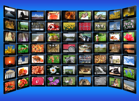 i pad: many tablets with motley pictures on the blue background