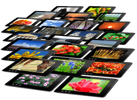 i pad: tablets with motley pictures isolated on the white background