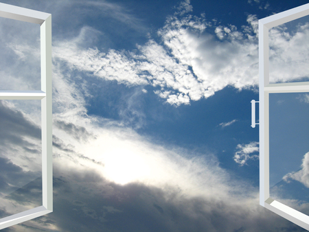 panoramic windows: opened window to the heaven with white clouds Stock Photo