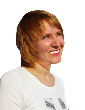 sympathetic: blue-eyed sympathetic girl looking up isolated on the white