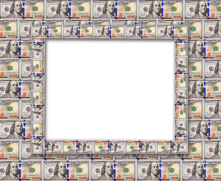 equivalent: Frame from the dollars isolated on the white background Stock Photo