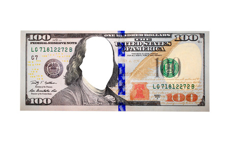 equivalent: hundred dollar bank note without presidents face isolated on the white background