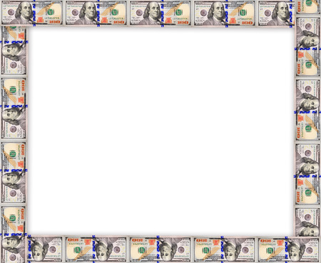 equivalent: Frame from the new dollars isolated on the white background