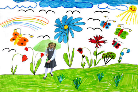 childrens playing: Multicolored childrens drawing with butterflies and flowers and little girl playing with umbrella Stock Photo
