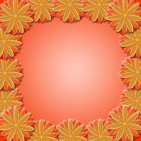 vermilion: floral stylish frame from red and brown flowers. Trendy red card. Greeting card for wedding, birthday and life events on the red background. Place for text. Stock Photo