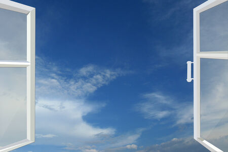 panoramic windows: opened window to the blue heaven with white clouds