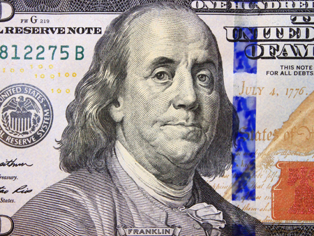 benjamin franklin: hundred dollar bank note with image of president Benjamin Franklin