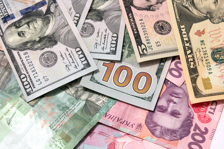 deletion: currency of American dollars on the grivnas bank notes Stock Photo