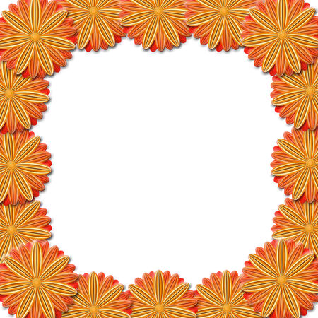 vermilion: floral stylish frame from red and brown flowers. Trendy red card. Greeting card for wedding, birthday and life events on the blue background. Place for text. Stock Photo