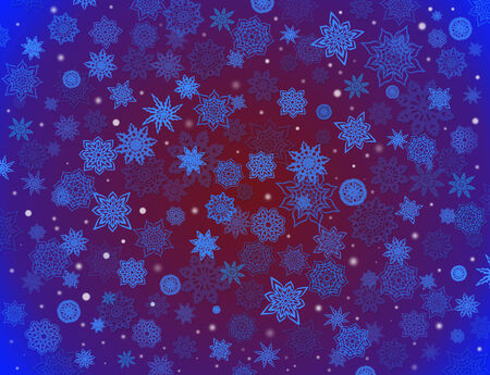 crimson: fabulous beautiful snowflakes on the blue and crimson background for holiday card Stock Photo