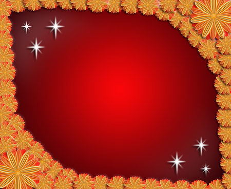 floral stylish frame from red and brown flowers