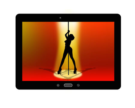 black tablet with image of strip-tease isolated on white background