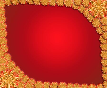 floral stylish frame from red and brown flowers. Trendy red card. Greeting card for wedding, birthday and life events on the light background. Place for text. Stock Photo