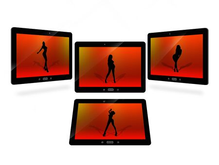 illustration of tablets with red image of dansing woman isolated on white