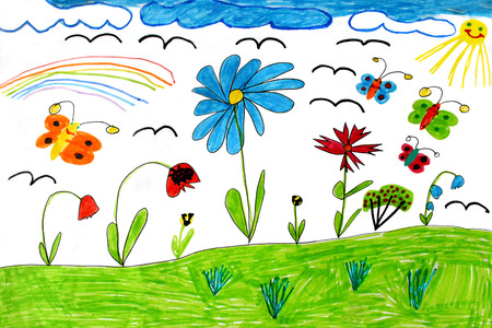 Multicolored childrens drawing with rainbow  butterflies and flowers