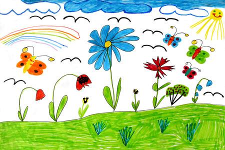 Tekening veelkleurige kinderen met regenboog vlinders en bloemen Stockfoto
