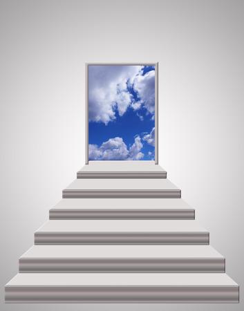 trap fromroom aan het licht blauwe hemel