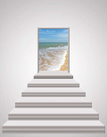 leading: stairs leading from room to ocean waves and sand