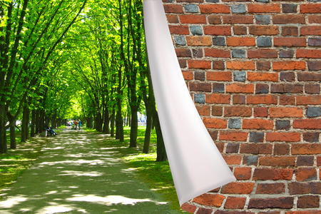 cuff: red brick cuff on the beautiful park with green trees and path Stock Photo