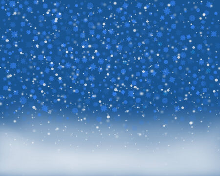 snow covered: fabulous snowflakes falling on the ground covered by snow