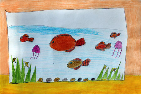 child's: Multicolored childs drawing with fishes in the aquarium