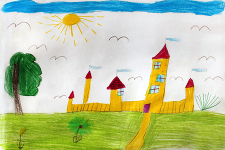 Multicolored childs drawing with great yellow fortress