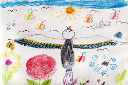 childs: Multicolored childs drawing with great funny bird