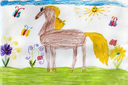 Le dessin de l'enfant multicolore avec une belle cheval drôle Banque d'images - 36820884