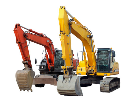 motor hoe: two modern excavators isolated on the white background Stock Photo