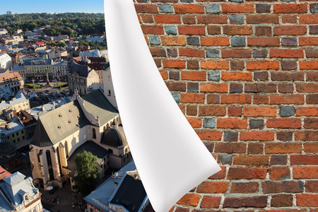 cuff: red brick cuff on the beautiful panorama of Lvov city
