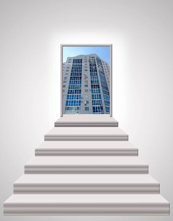 leading: stairs leading up to beautiful skyscraper Stock Photo