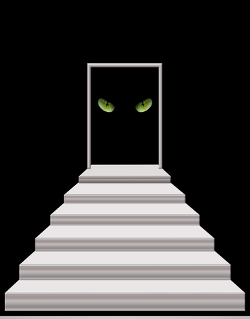 intent: stairs leading to the door with intent cats eyes in darkness