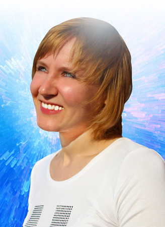 joyous: Young and joyous woman looking to the future with optimism