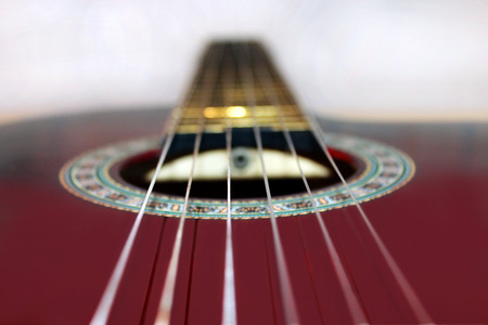fingerboard: close-up of finger-board and strings of guitar