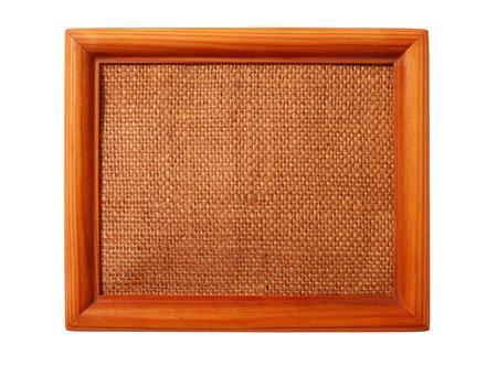 baguet: nice wooden frame with sacking isolated on the white background