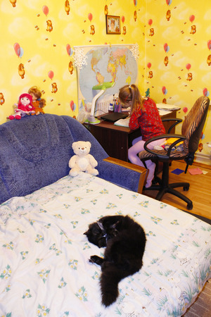 prone: black cat lying prone on the bed in childrens room Stock Photo