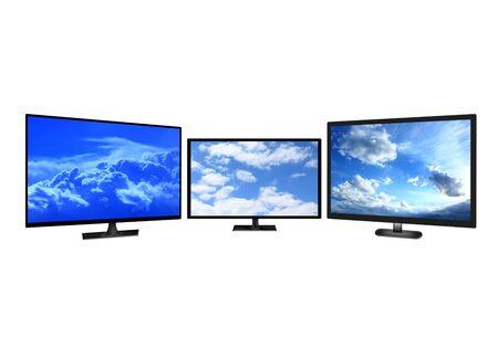 image of television sets isolated on white background photo