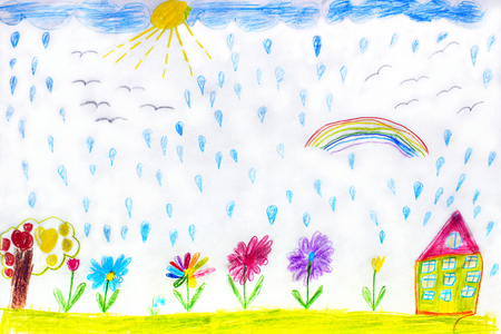 image of childrens drawing of house flowers and rainbow