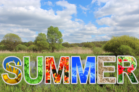 word summer by different letters and beautiful landscape photo