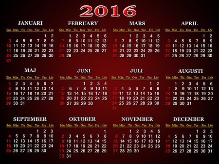 cipher: calendar for 2016 in Sweden on claret background Stock Photo