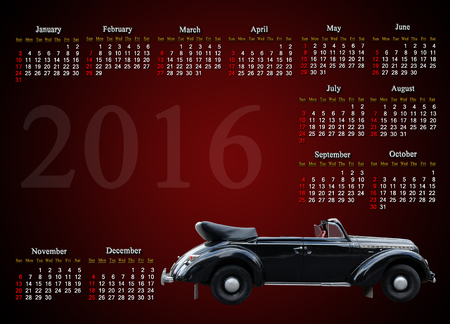 claret: calendar for 2016  in English with retro car on the on claret background Stock Photo