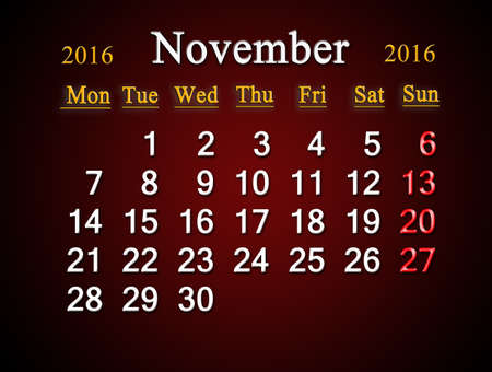 claret: beautiful claret calendar on November of 201
