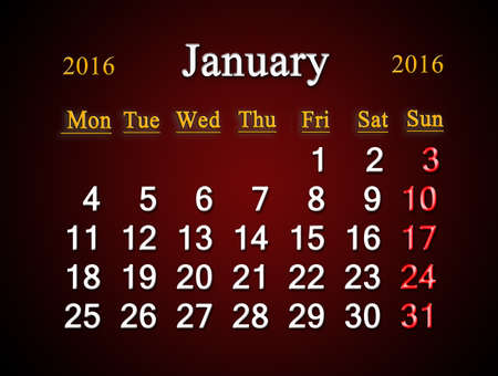 claret: beautiful claret calendar on January of 2015 year