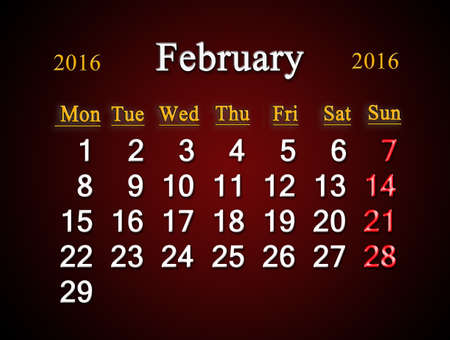 claret: beautiful claret calendar on February of 2016