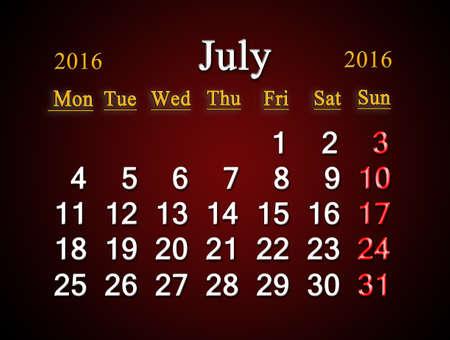 claret: beautiful claret calendar on July of 2016. Calendar for printing and using in office life